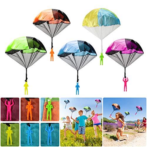 Wokkol Paracaídas para Niños, 12 Piezas Mini Paracaídas con Soldados Set, Mano Que Lanza Paracaidista, Juegos de Vuelo al Aire Libre para Niños