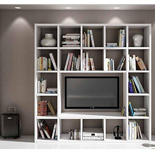 Giò Luxury Set Soggiorno Composto Da Libreria E Porta Tv Bianco Frassinato, Stile Moderno, In Mdf Laminato - Mis. 218 X 30 X 218