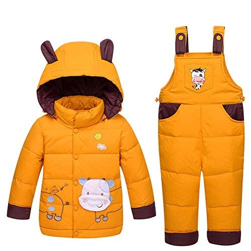 LSHEL Baby Schneejacke Unisex Baby Kleinkind Winter Schneeanzug Cartoon Ski-Schneehose Daunenmantel Kapuze Puffer Jacke 2-teiliges Set Gr. 12-24 Monate, gelb