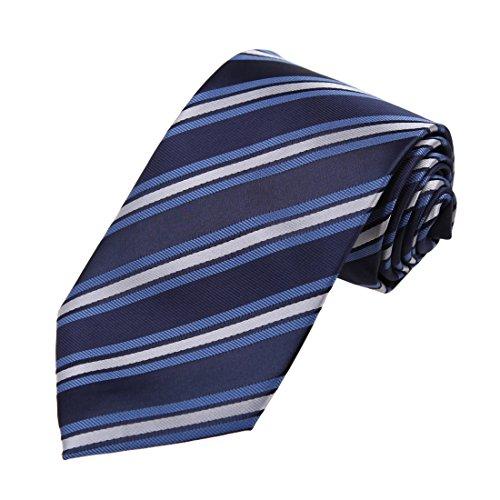 Dan Smith Nomal Tie - Corbata de cuello de microfibra para hombre, Azul medianoche, azul real, blanco-daa7a16d, Talla única