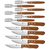 ENOKING Steak Knives, 12 Pieces Wooden Handle Steak Knives and Forks, Serrated and Stainless Steel Steak Knife Set, Professional Dinner Knives with Wood Handle