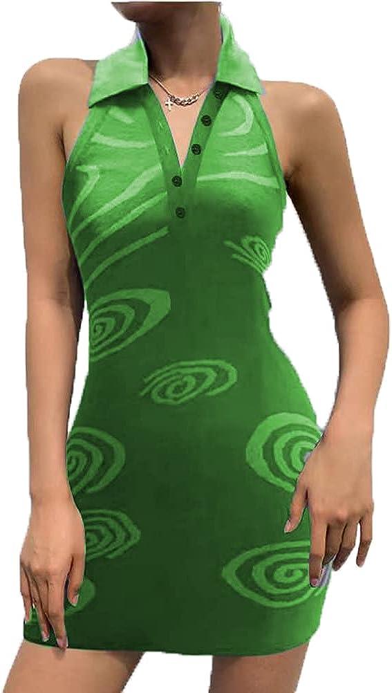 Women Sexy Dress Bodycon Y2k Knitted Midi Dress Halter Slim Sleeveless Backless Short Dress 93S E-Girl V-Neck Green