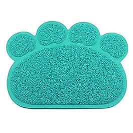Sahgsa Dog bowl mat for dogs and cats, PVC paw shape dog cat litter mat anti slip waterproof pad