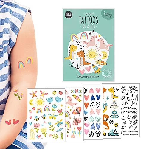 Freundschaftstatttoos Du & Ich, Tattoo Kinder Set, 5 Bögen Tattoos für Kinder im Motiv-Mix, Kinder Tattoo Mädchen, Kinder Tattoo Jungen, Mitgebsel Kindergeburtstag, Aufkleber Kinder, Mal Mich Bunt