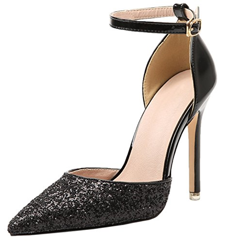 BIGTREE Knöchelriemen Pumps Damen Glänzend Pailletten Schwarz Spitze Zehen D'orsay Kleid Schuhe 34 EU