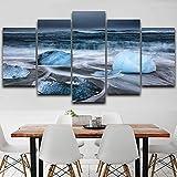 WZYWLH Arte de la Pared Pintura Modular Pictures Framework 5 Panel Sea Wave y Piedras de Hielo Decoración para el hogar Sala de Estar HD Impreso Moderno Lienzo