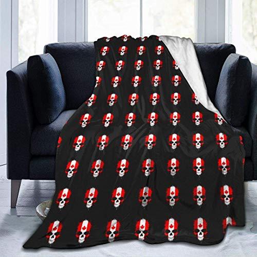 Uytrgh Couverture en flanelle avec motif crâne et tête de mort en peluche pour lit ou canapé 60 x 50 cm