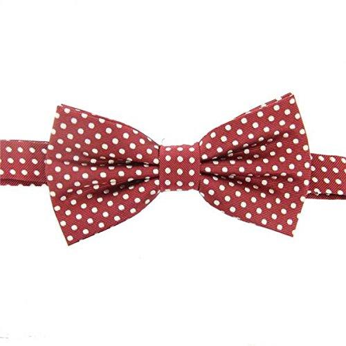 David Van Hagen / Blanc tacheté cravate rouge - déjà-nouée de