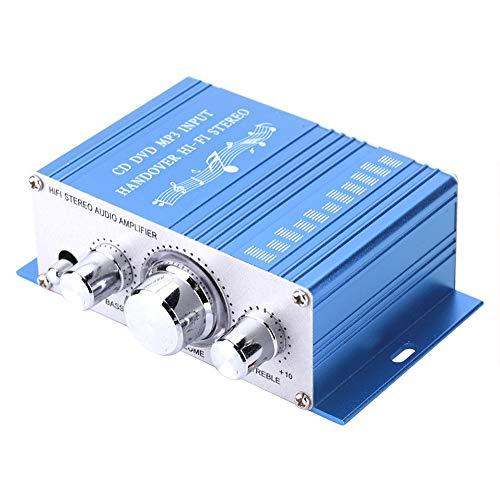 Dpofirs Mini-tragbarer Auto-Audio-Verstärker, Auto-Auto-Verstärker, Standard-Stereo-Buchseneingang, DC 12V, Musik-Player, Unterstützt USB, MP3, FM, SD, DVD(Blau)
