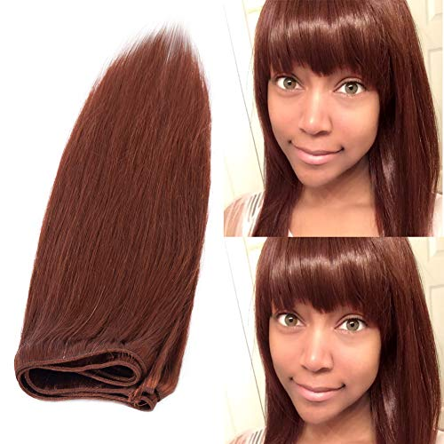 Benehair Human Hair Bundle Weft Dark Auburn 1 Bundle Silky Straight Sew in Brazilian Remy Hair Weave 20 inch Long Natural Virgin Hair for Afro American Black Women #33 100g