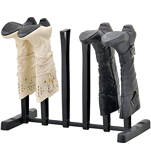 MyGift 3-Pair Tall Boot Storage Rack, Holder & Shape Maintainer Shoe Stand for Closet/Entryway, Black