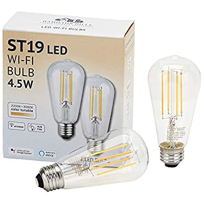 Hamilton Hills Alexa Certified LED Edison Smart Light Bulb 2 Pack of Alexa Light Bulbs Vintage E26 Base Antique Color Adjustable 2200K to 3000K Dimmable WiFi No Hub Required