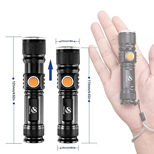 USB à l'intérieur de la batterie T6 puissant 2000LM Led lampe de poche Portable Lumière Rechargeable tactique LED Torches Zoom lampe de poche,M