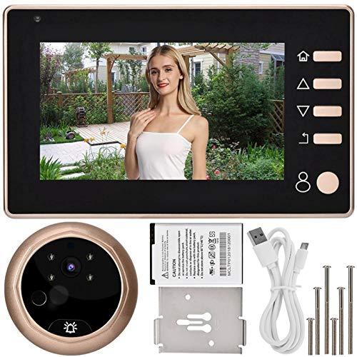 DAUERHAFT Cámara de Timbre con Video Inteligente, IP55 Clasificación Impermeable Observador antirrobo en el hogar, Soporte de Almacenamiento de Datos de Video, Tonos de Llamada internos 36