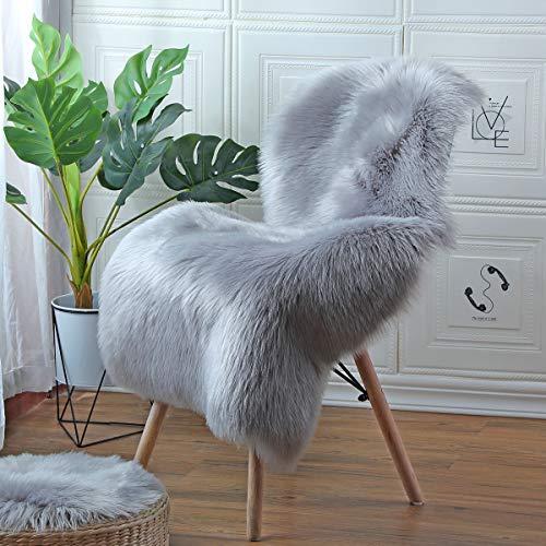 ZPX Flauschiger Teppich in verschiedenen Größen,Kunstpelz Teppich,Schaffell Teppiche,Teppich,Schöner Teppich,Universelle Teppiche für Schlafzimmer,Wohnzimmer,Stuhl oder Sofa (Grau, 60x90cm)