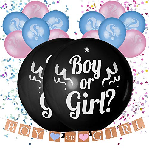 36quot Baby Gender Reveal Balloon with Confetti Pink and Blue Boy or Girl Balloons Gender Reveal Banner | Gender Reveal Decorations Gender Reveal Party Supplies kit