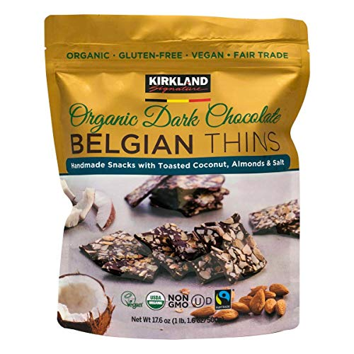 Kirkland Signature Signature Belgian Organic Chocolate Belgian Thins Almond Coconut, 500 g, COST1250800