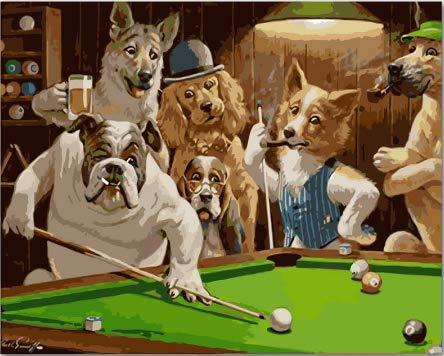 WAZHCY Mr. Dog esegue Dipinti digitali Fai-da-Te su Tela e Colori e Vernici per la Decorazione Domestica.