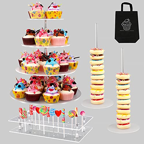 5 PCS Acrylic Cake Stands Set, TOKUFAGU 4-Tier Cupcake Stand, 28 Hole Cake Pop Stand, 2 Pcs Donut Stands Non-Slip Clear Pastry Displays with Tote Bag for Wedding Birthday Party Decor