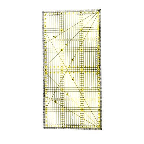 Healifty Regla para Costura de Acrílico con Doble Rejilla de Líneas de Color para DIY Facilitar la precisión de corte (15 x 30 cm)
