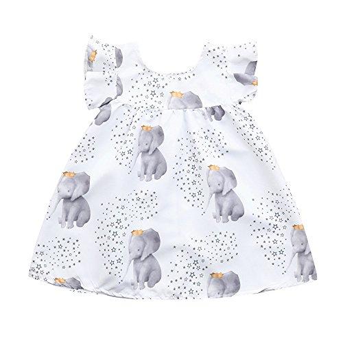JUTOO Neugeborenes Kleinkind Baby Mädchen Kleid Cartoon Elefant kleine Sterne Druck Kleider Kleidung Outfits (Weiß,80)