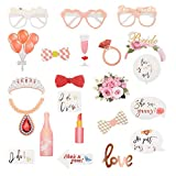 Herefun 23pcs Photo Booth Accesorios Boda DIY Kit, Foto Booth Props Sombreros Oro rosa, Photo Booth Atrezzo, Photo Booth Props para Boda cumpleaños Halloween Graduación Mascarada Fiesta