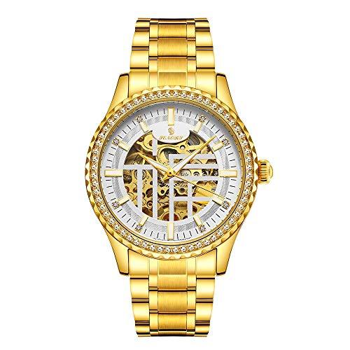Sqddsg Uhr im Vintage-Stil Blessing Hohlen Automatischen Mechanischen Männer Uhr Premium (Color : Golden White Noodle)