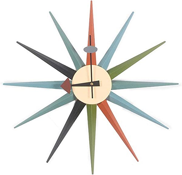 Tiandihe Self Assembly Sunburst Wall Clock Silent Battery Operated Non Ticking 18 Inches DIY Wood Large Colourful Sunlight Quartz Clocks Decorative Living Room Office