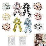 Geyan 12 coleteros para el pelo de chifón con flores para el pelo, corbatas, soporte elástico metálico para coletas con bolsas de almacenamiento, accesorios para la cabeza suaves para mujeres y niñas