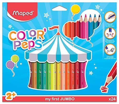 Maped Color'Peps Crayons de Couleur Maxi pour Enfants, Premiers Crayons de Coloriage pour Bébé +2 ans – Boîte de 24 crayons Jumbo Assortis