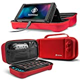 tomtoc Carrying Case for Nintendo Switch, Portable Travel Carry Storage Case Compatible with Switch Console, Pro Controller and 24 Game Cards, Protective Carry Bag with Handle