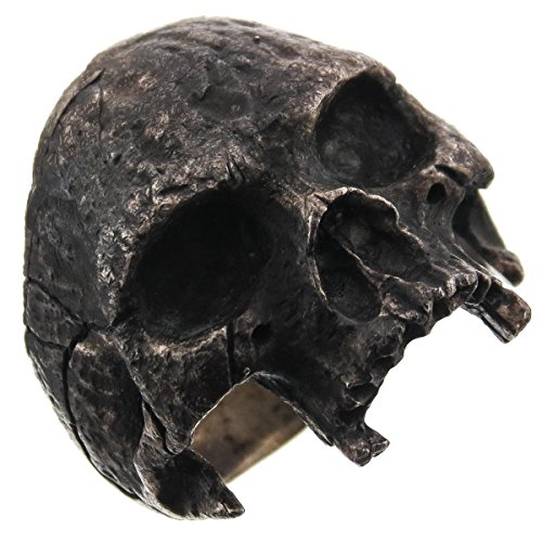 RingSize 10 Mens Masonic Large Half Skull Dark Patina 925 Sterling Silver Biker Ring, US 8-13