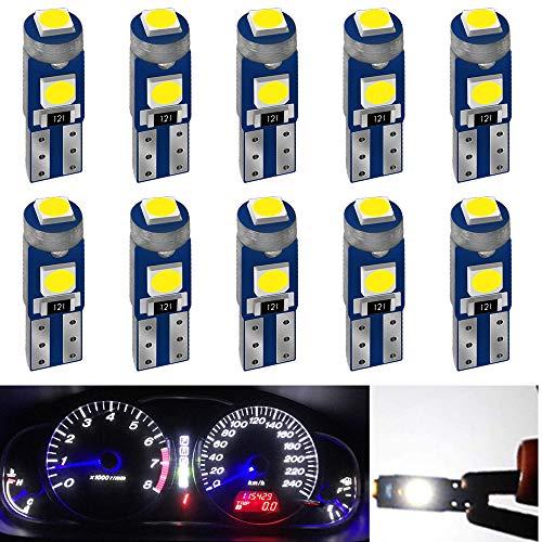 DEFVNSY 10-Pack T5 3030 3SMD 12V Blanco Led 74 73 70 2721 286 W3W W1.2W para luces interiores del coche Led Tablero de instrumentos Reemplazo de la lámpara del instrumento automático
