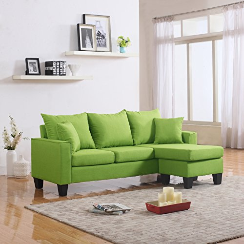 Divano Roma Furniture Modern Sectional, Green