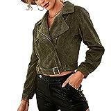 Chaqueta casual de las mujeres de manga larga cremallera trinchera costo color sólido pana solapa estilo corto abrigo con cinturón, Ejercito Verde, XL