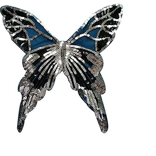 Parches para Ropa Lentejuelas de Mariposa Paño Bordado Bordado Paño Paño Ropa Ropa de Gran tamaño Pegatinas Decorativas Creativas (2pcs) 28 * 30 cm