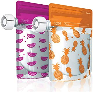 Cherub Baby Special Edition On The Go Reusable Baby Food Pouches, Pink/Orange, 10 Piece