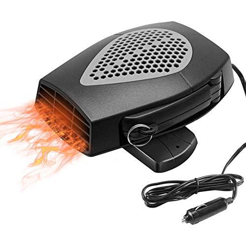 DISTANCEE Car Heater, Portable Heating&Cooling Car Fan Heater Defroster, 12v 150W fast heating, 3-Outlet Plug Adjustable Thermostat in Cigarette Lighter, 360°Degree Rotating Car Demister Heater(Black)