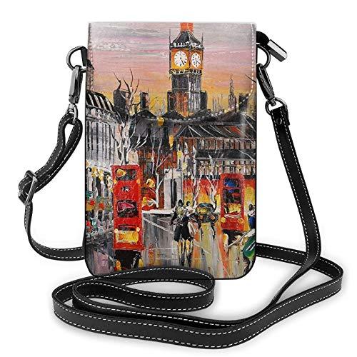 QQIAEJIA Bolso del teléfono celular - Bolso bandolera pequeño de la torre del reloj de la calle, bolso de hombro Cartera del teléfono celular Correa ajustable para las mujeres