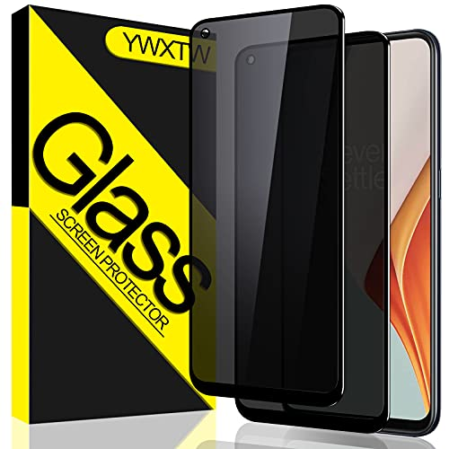 privacy screen protectors [2 Pack] YWXTW OnePlus Nord N100 Privacy Screen Protector, Tempered Glass Anti-Spy Black Screen Protector for OnePlus Nord N100, Anti-Peek 9H Hardness Anti-Scratch Easy Install Bubble Free - Black