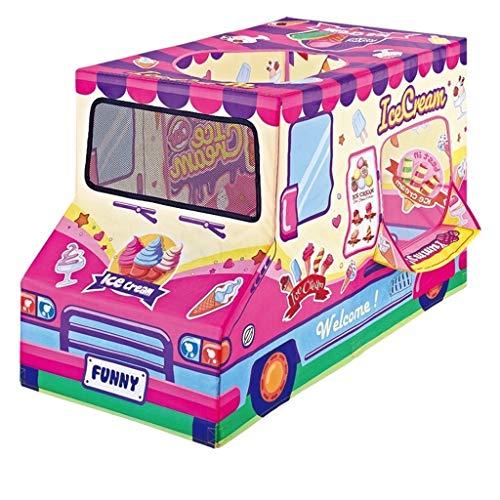 Tienda de campaña de juego rosa, juego diseñado como una furgoneta de postre – Instalación de casa de juguete para niños – Regalo de cumpleaños para niños (tamaño: 58 x 115 x 72 cm)