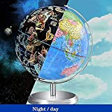 Globo del Mundo Iluminado de 8 Pulgadas, Globo de constelación LED de Escritorio con Soporte, Adornos de decoración de Globo terráqueo de exploración 2 en 1 para niños y Adultos
