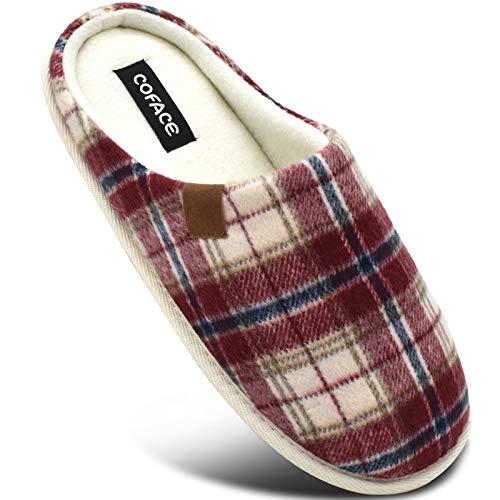 COFACE Rosso Pantofole Uomo Plaid, Comoda Memory Foam Calde Scarpe da Casa in Lana con Suola Antiscivolo Primavera/Autunno Taglia 43