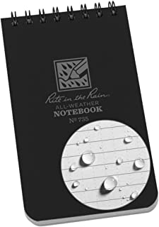 "Rite in the Rain Weatherproof Top-Spiral Notebook, 3"" x 5"", Black Cover, Universal Pattern (No. 735)"
