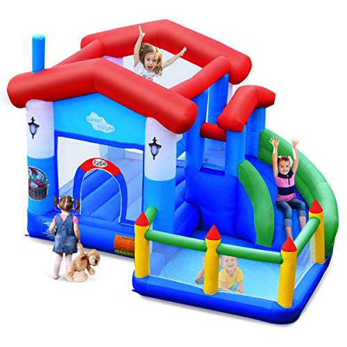 BOUNTECH Inflatable Bounce House, Kids Bouncer with Large Jumping Area, Slide, Netting, Playing...