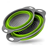 Colander Set - 2 Collapsible Colanders (Strainers) Set - Includes 2 Folding Strainers Sizes 8' - 2 Quart and 9.5'- 3 Quart (Green)
