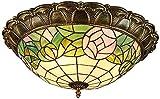 Lámpara de techo, luz de baño Luces de techo LED, lámpara de techo de la sombra de cristal, hojas verdes Decoración de la iluminación de techo de montaje en descarga para el dormitorio de la sala de e