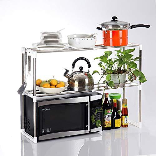 Küchenregal mit 2 Ebenen, 57 x 48 x 30 cm, Edelstahl-Regal für Lagerung, Küchenorganisation, Küchenzubehör