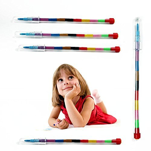 DS 24X Children Kids Swap Swop Point Crayons Stacker Pencil Back to School Party Filler