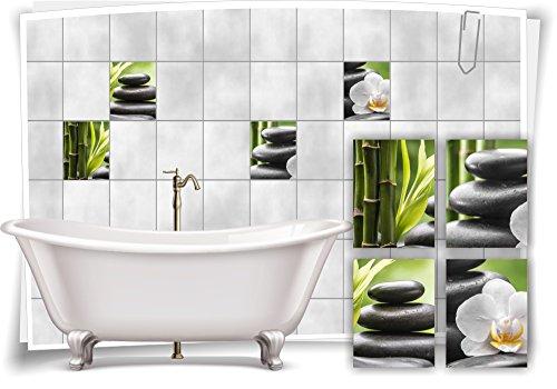 Medianlux Fliesenaufkleber Fliesenbild Zen Steine Blüte Bambus Grün Wellness SPA Aufkleber Sticker Deko Bad WC, 20x25cm